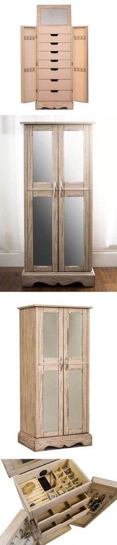 Jewelry Boxes 3820: Mirrored Jewelry Armoire Tall Cabinet Storage Box Organizer Free Standing Rings -> BUY IT NOW ONLY: $274.99 on eBay!