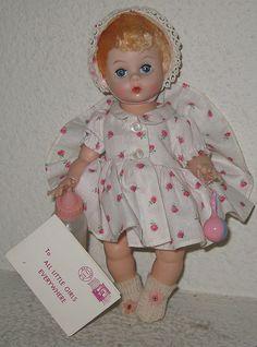 Vintage Madame Alexander Little Genius Doll with Rattle, Bottle, & Tag