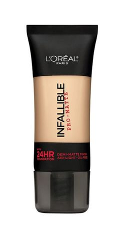 L'Oréal Paris Infallible Matte Foundation: Although L'Oreal's tube helps you achieve a shine-free complexion, it won't leave your skin looking flat. Its demi-matte finish conceals imperfections and lasts for up to 24HRS, so those blotting papers in the bottom of your makeup bag are no longer necessary.