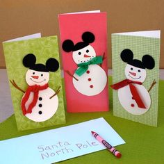 Spread Disney magic with these DIY Mickey Snowmen Cards. Encourage your children to send Thank You cards for the gifts they received this year. Even Santa appreciates a thank you!