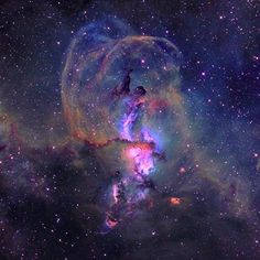 """Here we have the beautiful NGC 3576 it's a minor nebula in the Sagittarius arm of the galaxy a few thousand light-years away from the Eta Carinae nebula. This nebula even received six different classification numbers. Currently, astronomers call the entire nebula NGC 3576. A popular nickname is """"The Statue of Liberty Nebula"""" because of the distinctive shape in the middle of the nebula, stunning!✨ #hubble #orion #iss #solarsystem #nasa #liberty #nebula #cosmos #explore"""
