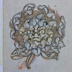 "Nami / Horinami / Nammymetal on Instagram: ""#tattoo #foodog #foodogtattoo #chrysanthemum #タトゥー #唐獅子 #菊"" Tattoo Design Drawings, Tattoo Sketches, Tattoo Designs, Japanese Drawings, Japanese Tattoo Art, Hanya Tattoo, Chrysanthemum Tattoo, Asian Tattoos, Japan Tattoo"
