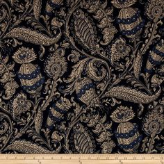 Stretch ITY Jersey Paisley Monaco Navy/Cream from @fabricdotcom  This lightweight ITY jersey knit is perfect for creating flowy tops, fuller skirts and drapey dresses. It has a super smooth hand, fluid drape and about 30% four-way stretch for comfort and ease. Colors include shades of blue and cream.