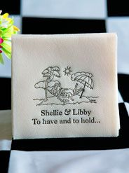 Girls Personalized Napkins...Destination Tropical Paradise Weddings for the Female Couple