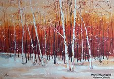 """Winter Sunset 1"" Watercolor by Gabriela Calinoiu. www.picturipeisaje.wordpress.com Pictura peisaj toamnă în pădure. Wordpress, Artist, Food, Eten, Meals, Artists, Diet"