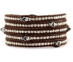 Chan Luu Sterling Silver Skull Wrap Bracelet on Brown Leather - List price: $300.00 Price: $250.00