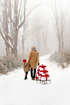 A Dose of Christmas Spirit for You Mom pulling gifts on a sled with her daughter winter scene Toni Kami Joyeux Noël Christmas photography Noel Christmas, Merry Little Christmas, Country Christmas, Winter Christmas, Winter Snow, Winter Walk, Christmas Music, Christmas Garden, Christmas Presents