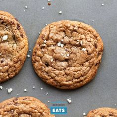 Chewy chocolate chip cookies with crisp edges; a rich, buttery, toffee-like flavor; big chocolate chunks; and a sprinkle of sea salt.