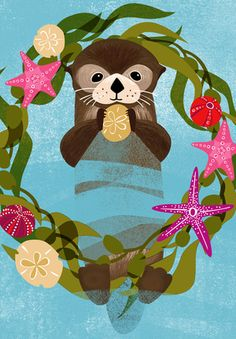 Sea Otter illustration in a sea kelp wreath, holiday christmas card. illustration