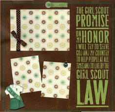 """I like the """"promise"""" being written on the layout - need to make a note of the boys, joey, cub & scouts promises -                                            The Girl Scout Promise - 12x12 Premade Scrapbook Page. $14.95, via Etsy."""