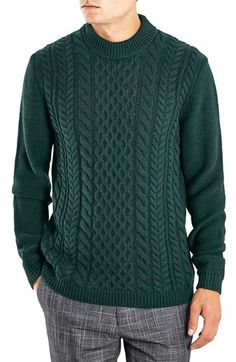 Topman Heavyweight Cable Knit Crewneck Sweater