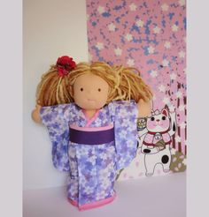 15 inche Waldorf doll kimono Japanese doll by japanmomijidesigns