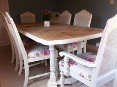 SHABBY CHIC FRENCH BERGERE OAK TABLE AND SIX CHAIRS IN LAURA ASHLEY ROSES