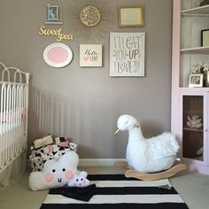 Black and White nursery with hints of gold and pink. Baby girl nursery decor. Monochrome nursery design for baby girl.