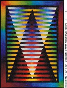 Illusion © Quilt Art Record by Caryl Bryer Fallert Big Block Quilts, Small Quilts, Quilt Blocks, Bargello Quilts, Jellyroll Quilts, Design Web, Optical Illusion Quilts, Patchwork Quilt Patterns, Patchwork Designs