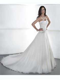 White A Line Strapless Beads Pleats Organza 2014 Wedding Dresses AWD100142
