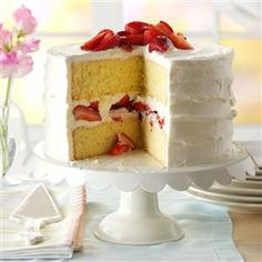 Strawberry Mascarpone Cake Recipe -Don't let the number of steps in this strawberry cake recipe fool you. It's actually quite easy. The cake comes out high and fluffy and the strawberries add fresh flavor and beauty to the dessert. Cream cheese is a good substitute if you don't have mascarpone cheese handy. —Carol Witczak, Tinley Park, Illinois