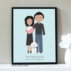 Custom Portrait,  New Baby and Pet Family Portrait by Head Hand & Heart