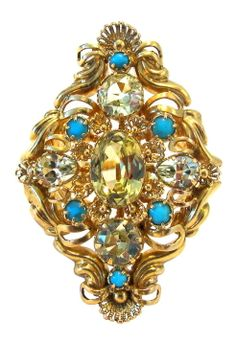 Victorian Chrysoberyl and Persian Turquoise Ring. 18kt Gold, chrysoberyl and Persian turquoise ring created from an antique pendant. European, c1870.