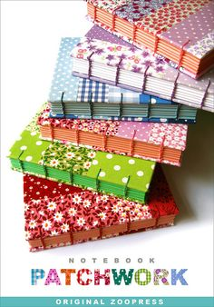 patchwork journals by Zoopress studio #bookbinding -------------------- might be good use of all those 4x4 squares i have. fuse the strips, sticks them all together and makes book cloth at the same time