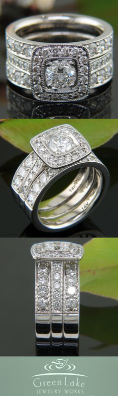 This ring was created by reusing sentimental gold from the client's existing jewelry! Learn more about the guys who specialize in this kind of reuse and restoration here http://www.greenlakejewelry.com/gallery/cust_gallery.aspx?ImageID=77306