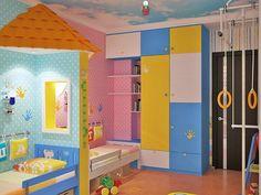 raumteiler kinderzimmer regal bücher lernplatz schlafbereich ... - Ein Zimmer