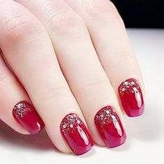 Quantity: Top Quality Charming Red Fake Nail With Glitter Acrylic Full Cover False Nails Square Head Nail Art. Nail Length: Nail Width: Put your nails in warm water for 2 minutes and nail sticker can be removed easier. Gel Nails At Home, New Year's Nails, Xmas Nail Designs, Nail Art Designs, Nails Design, Design Design, Design Ideas, Xmas Nails, Holiday Nails