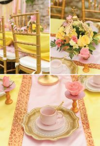 pink and yellow princess tablescape and place settings