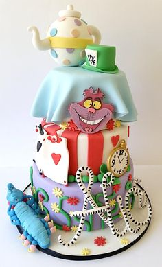 Alice in Wonderland themed design - for a birthday girl named Alice! - Cake by Baked by Sunshine
