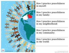 A simple exercise to help facilitate discussions around peacefulness and our personal choices in bringing about change in our lives and our environment.