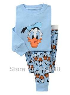 children boys girls long sleeve cartoon donald duck pajamas  G-7341   kids  clothing set   baby sleepwear 833c0ad19