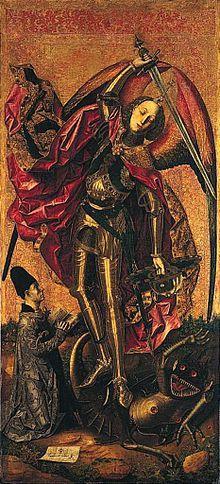 San Michele trionfa sul demonio AutoreBartolomé Bermejo Data1468 Tecnicaolio e oro su tavola Dimensioni179,7 cm × 81,9 cm  UbicazioneNational Gallery, Londra