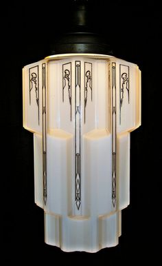 Antique Art Deco Skyscraper Hanging Light by RubyCatVintage, $375.00