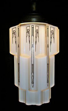Amazing Antique Art Deco Pendant Light with Skyscraper Globe c