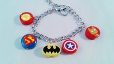 Super heroes charm bracelet ( Batman, superman, flash, and captain america) marvel, dc comics by crystalnruby on Etsy