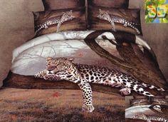 Beżowa pościel z bawełny z gepardem