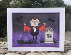 Frightful Friends and Grave Situation stamp sets from MFT Stamps. Card by Mocha Frap Scrapper