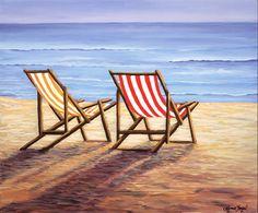 *Day at the Beach.by Lynn Fogel Santa Barbara Beach, Sailboat Art, Earth Design, Cross Stitch Art, Cross Stitching, Flower Canvas, Beach Print, Ocean Art, Beach Chairs