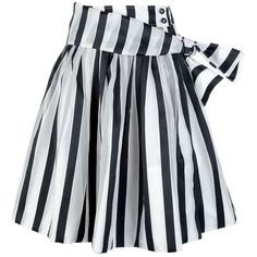 Black and white striped oversize a-line skirt from Pauw featuring a  high-waist with an off centre front button fastening efd0f4ca402b8