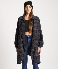Another great find on #zulily! Charcoal Plaid Maxi Coat by Free People #zulilyfinds