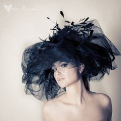 462b371817758 Excited to share this item from my shop  Bespoke Large Black Net and  Feather Couture Fascinator Headpiece - Wedding   Races Ascot