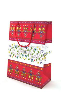 Gift paper bag, embroidery Kashubian. www.phukaszub.pl Kaszubska torebka na prezent, haft kaszubski