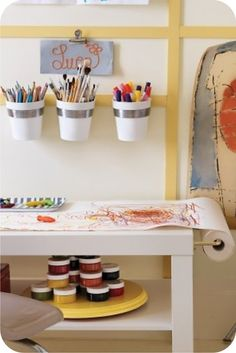 art table - Lack coffee table, in White, Mala drawing paper roll, and Grundtal cutlery caddies Ikea Mala, Drawing Paper Roll, Kids Craft Tables, Lack Coffee Table, Martha Stewart Home, Deco Kids, Art Corner, Kid Spaces, Space Kids