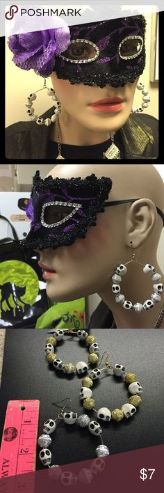 2 SEPARATE PAIRS OF SKULLS AND BEADS HOOP EARRINGS Specify your choice: Gold tone wire with gold beads pair, and 2nd pair is Silver tone wire with silver beads. Each earring has 6 white with black eyes skulls. These hoop earrings dangle from fish hook to 3 inches long. #gothic #halloween #costumejewelry Jewelry Earrings