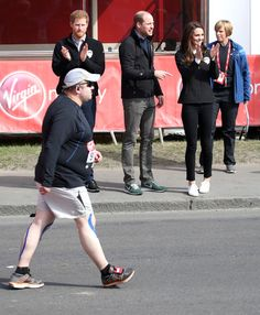 Prince Harry, Prince William, Duke of Cambridge and Catherine, Duchess of Cambridge cheer on runners after they signaled the start of the 2017 Virgin Money London Marathon on April 23, 2017 in London, England.