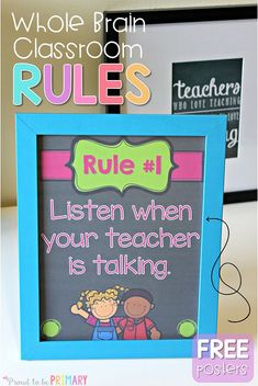 Teach kids classroom rules and build classroom management with the FREE Whole Brain rule posters. #teacherfreebie #classroommanagement #wholebrain #classroomrules #backtoschool