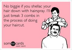 Free, Reminders Ecard: No biggie if you shellac your hair down with hairspray. I'll just break 3 combs in the process of doing your haircut.