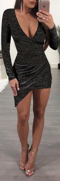 Black Mosaic Rhinestone Irregular Long Sleeve Sparkly Bodycon Party Club Wear Mini Dress Available Sizes : S; Party Dresses For Women, Club Dresses, Sexy Dresses, Ladies Dresses, Black Sparkly Dress, Casual Outfits, Fashion Outfits, Summer Outfits, Trendy Swimwear