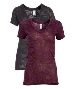 Pima Apparel Black & Deep Purple Burnout V-Neck Tee - Women | Zulily