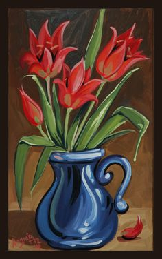 Chios red tulips acrylic on canvas